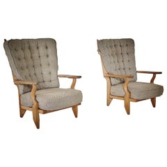 Pair of Guillerme et Chambron, Grand Repos, Original Fabric, 1960s