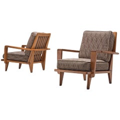 Pair of Guillerme et Chambron  Lounge Chairs in Solid Oak