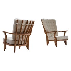 "Pair of Guillerme et Chambron ""repos"" Lounge Chairs, France, 1950s"