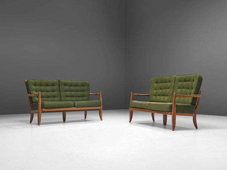 Mid-Century Modern Pair of Guillerme et Chambron Sofas in Moss Green Upholstery For Sale
