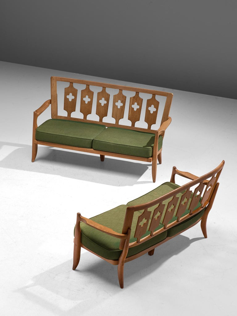 French Pair of Guillerme et Chambron Sofas in Moss Green Upholstery For Sale