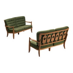 Pair of Guillerme et Chambron Sofas in Moss Green Upholstery