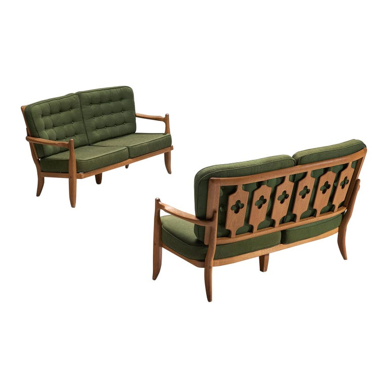 Pair of Guillerme et Chambron Sofas in Moss Green Upholstery For Sale