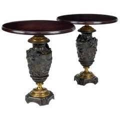 Pair of Guilt Bronze Urns Converted to Tables
