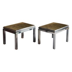 Pair Mid Century Verre Églomisé Coffee Tables By Maison Jansen by Guy Lefevre
