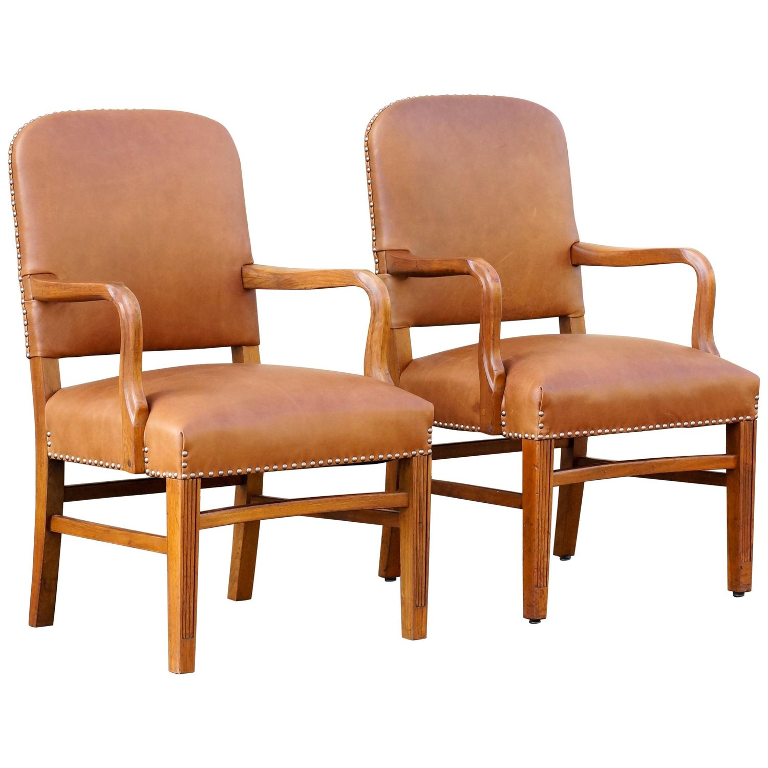 Groovy Pair Of Gunlocke Leather And Oak Armchairs 1948 Pabps2019 Chair Design Images Pabps2019Com
