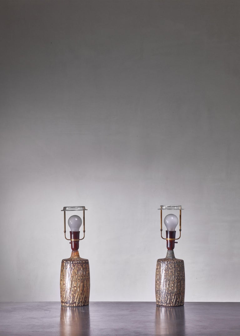 Scandinavian Modern Pair of Gunnar Nylund Ceramic Table Lamps, Sweden, 1950s For Sale