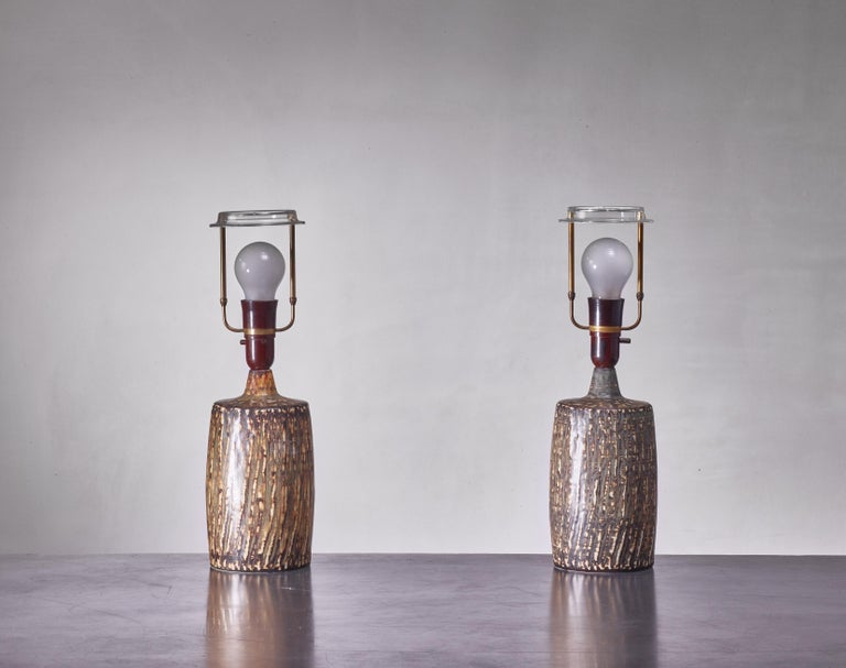 Swedish Pair of Gunnar Nylund Ceramic Table Lamps, Sweden, 1950s For Sale