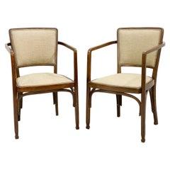 Pair of Gustav Siegel Chairs for J & J Kohn, Vienna Secession