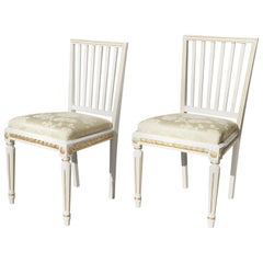 Pair of Gustavian 18th Century Swedish Painted and Gilded Side Chairs