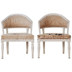Pair of Gustavian Barrel Back Armchairs