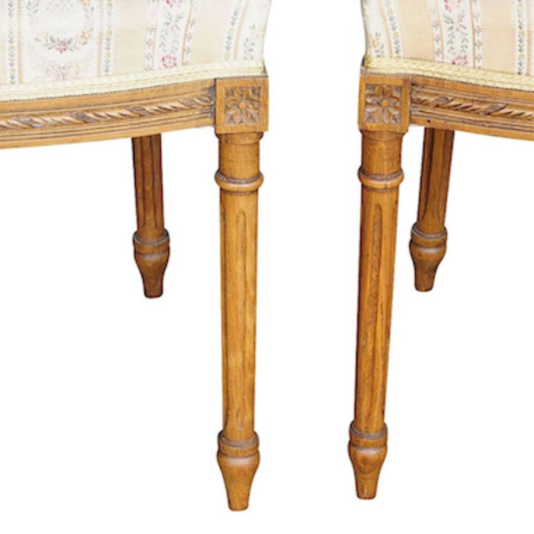 Swedish Pair of Gustavian Carved Canework Dining Chairs Natural Finish, Early 1900s For Sale