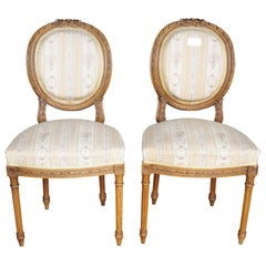Pair of Gustavian Carved Canework Dining Chairs Natural Finish Early 1900s