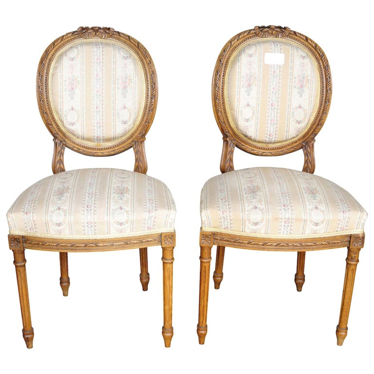 Pair of Gustavian Carved Canework Dining Chairs Natural Finish, Early 1900s For Sale