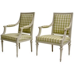 Pair of Gustavian Grey Painted Armchairs