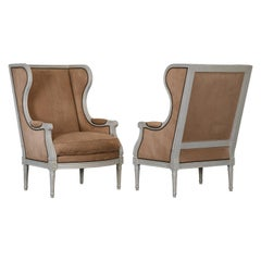 Pair of Gustavian Louis XVI Style Wingback Chairs, 1980s