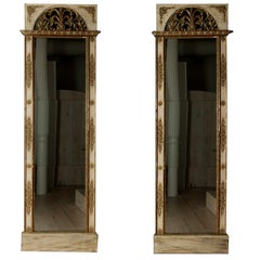Pair of Gustavian Mirrors with Original Blue Glass Plates, Sweden, Circa 1790