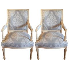 Pair of Gustavian Painted Armchairs Newly Upholstered in a Grey Damask Pattern