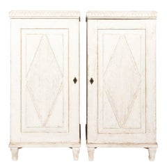 Pair of Gustavian Painted Cupboards