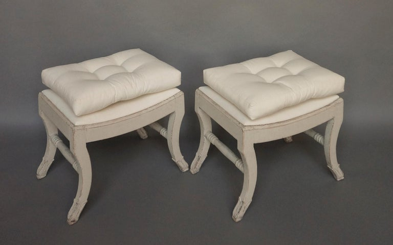 Pair of Gustavian Style Swedish Stools For Sale 4