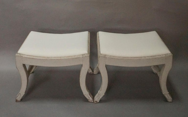 Hand-Carved Pair of Gustavian Style Swedish Stools For Sale