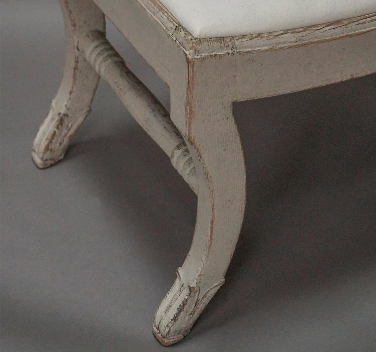 Upholstery Pair of Gustavian Style Swedish Stools For Sale