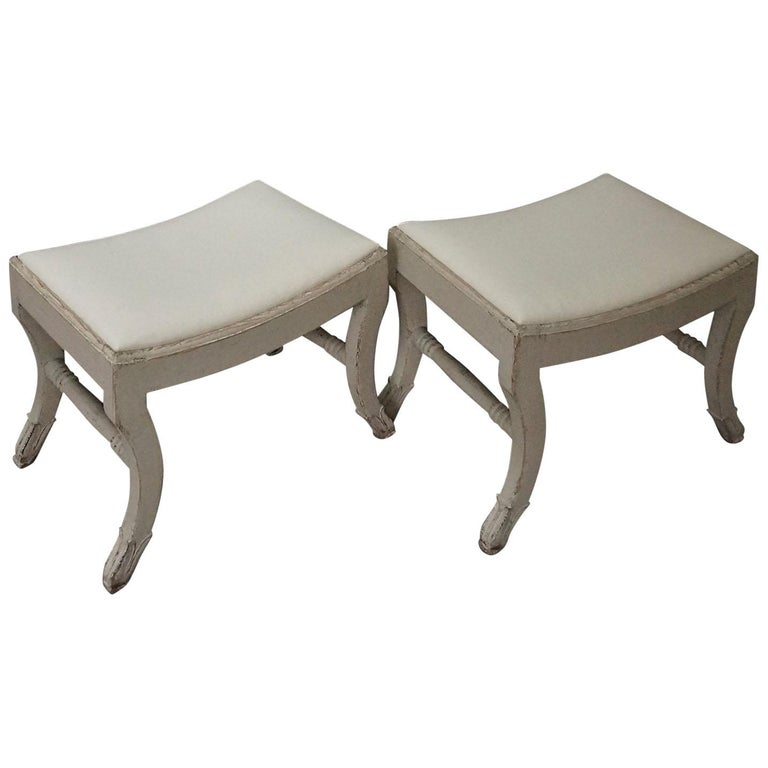 Pair of Gustavian Style Swedish Stools For Sale
