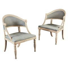 Pair of Gustavian Swedish Painted Armchairs With Blue Linen Upholstery