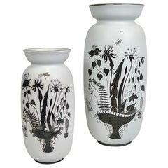 Pair of Gustavsberg Ceramic Vases with Silver Overlay Stig Lindberg, Grazia
