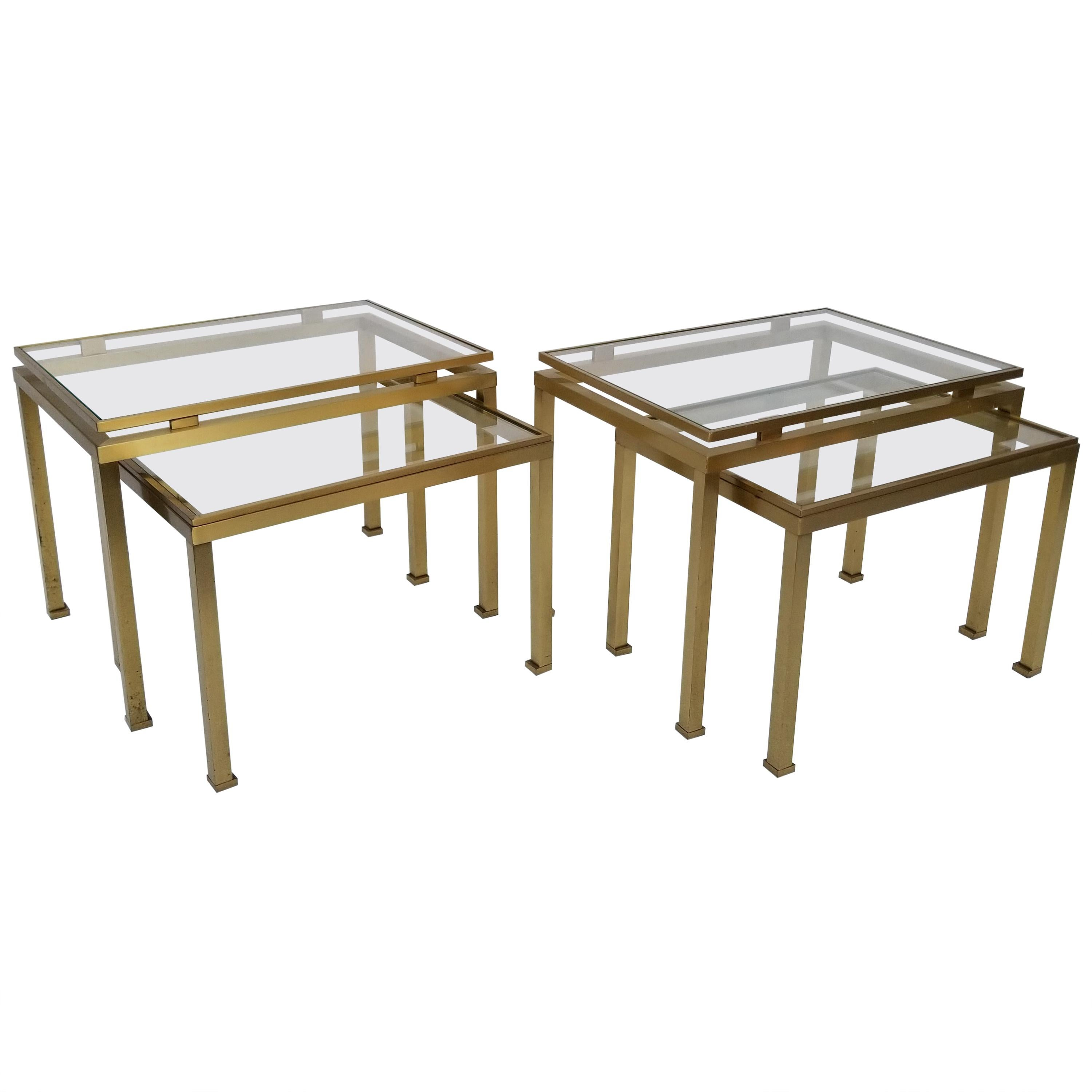 Pair of Guy Lefevre for Maison Jansen Brass and Glass Top Side Table