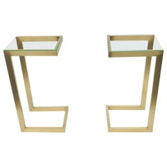 Pair of Guy Lefevre for Maison Jansen Brass & Glass Sofa Table