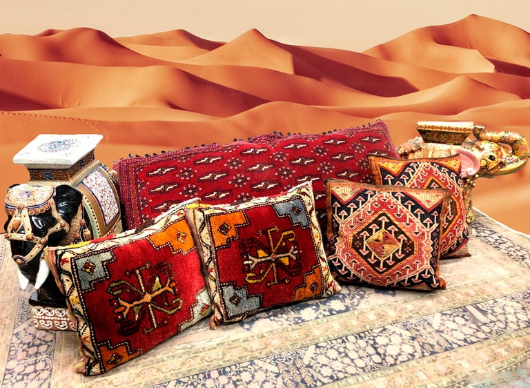 Pair of Gypsy Turkish Oriental Salt Bag or Rug Embroidery Pillows For Sale 5