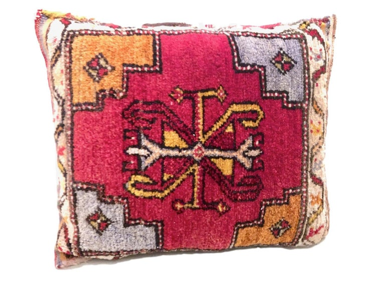 Gorgeous pair of oriental pillows. Handmade of woolen salt bags or oriental rug. Each measures approximate 16 inch high, is approximate 20 at the widest point and about 4 inch deep.