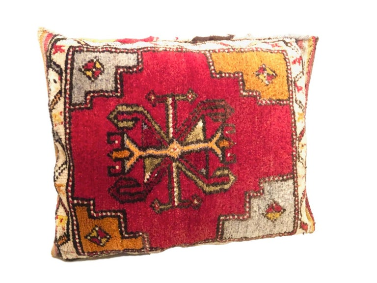 Hand-Knotted Pair of Gypsy Turkish Oriental Salt Bag or Rug Embroidery Pillows For Sale