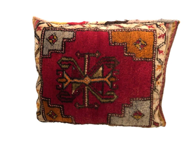 Early 20th Century Pair of Gypsy Turkish Oriental Salt Bag or Rug Embroidery Pillows For Sale