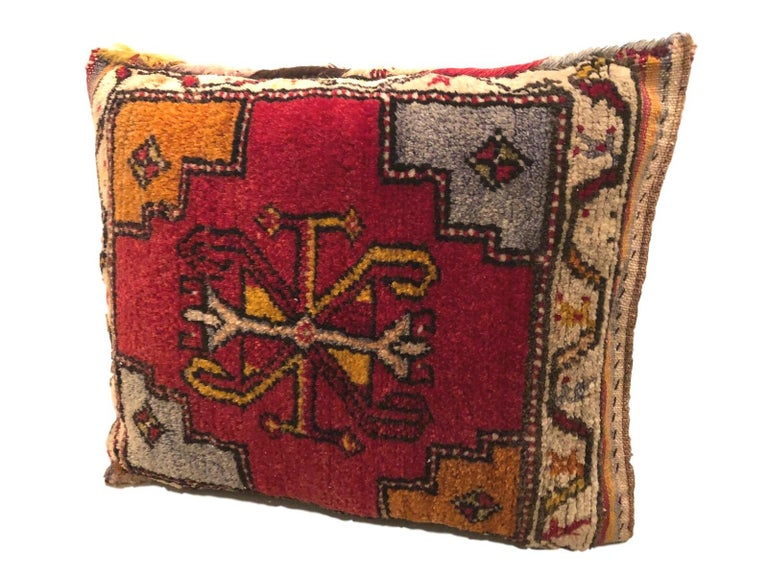 Wool Pair of Gypsy Turkish Oriental Salt Bag or Rug Embroidery Pillows For Sale