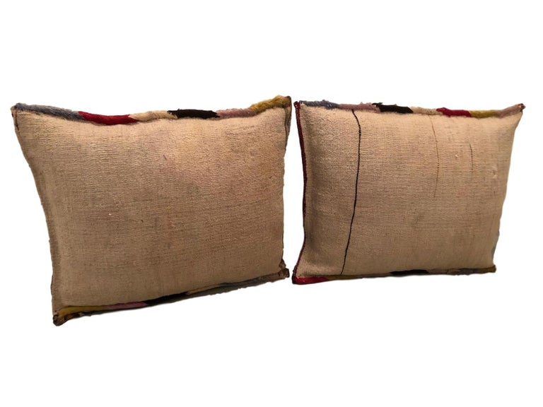 Pair of Gypsy Turkish Oriental Salt Bag or Rug Embroidery Pillows For Sale 1