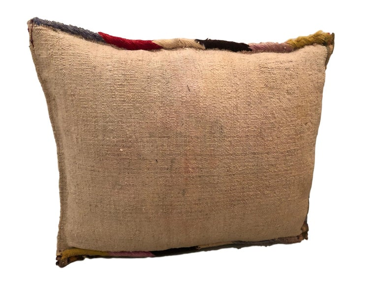 Pair of Gypsy Turkish Oriental Salt Bag or Rug Embroidery Pillows For Sale 2