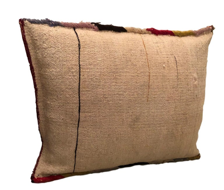 Pair of Gypsy Turkish Oriental Salt Bag or Rug Embroidery Pillows For Sale 3