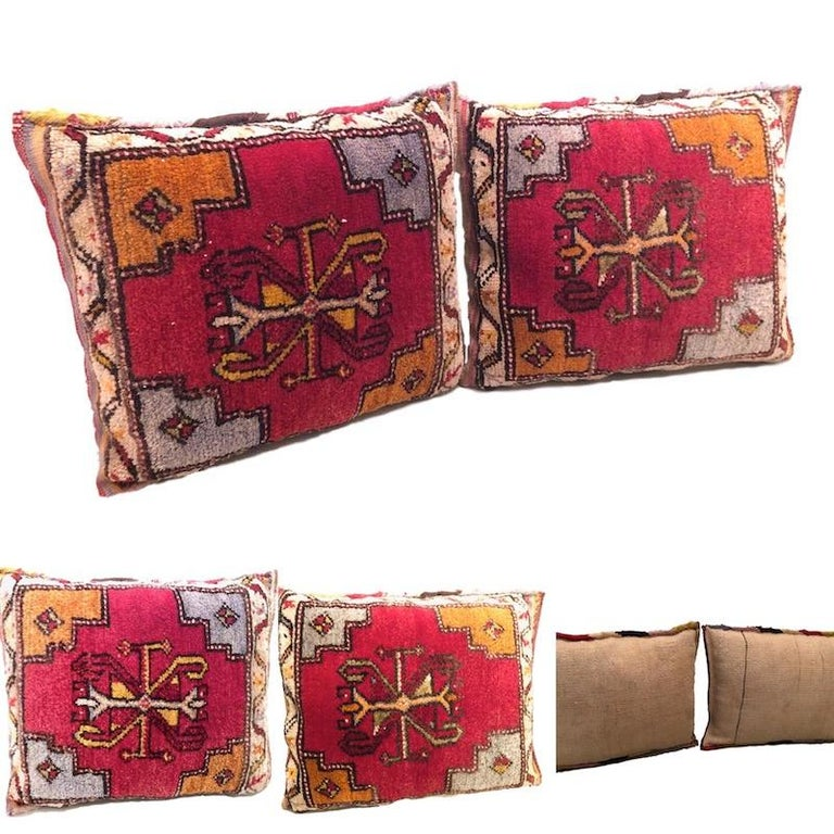 Pair of Gypsy Turkish Oriental Salt Bag or Rug Embroidery Pillows For Sale 4
