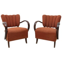 Pair of H-237 Cocktail Armchairs by Jindrich Halabala, Czechoslovakia, 1950s