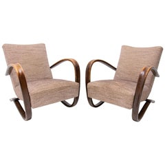 Pair of H-269 Armchairs Designed by Jindrich Halabala, 1930s