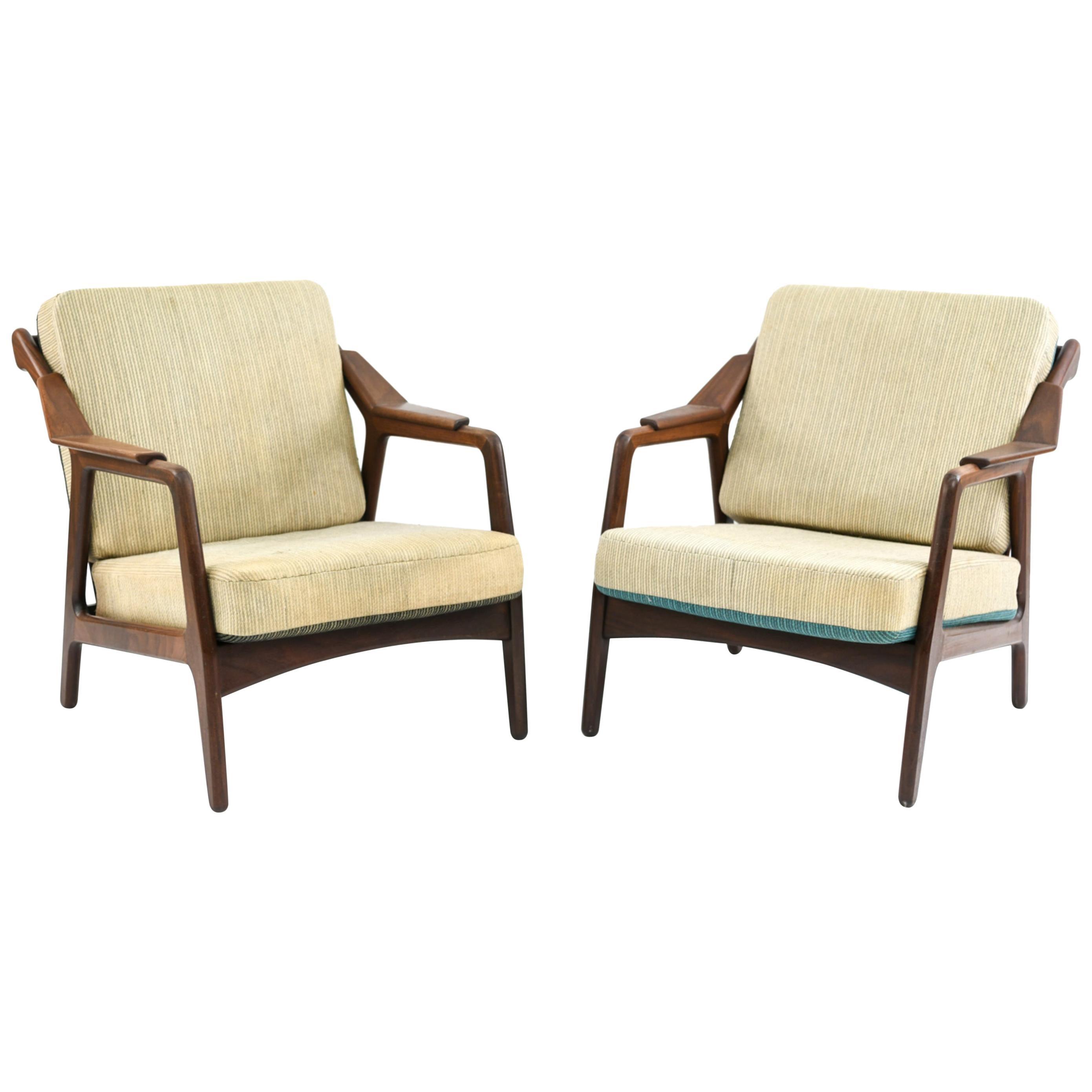 Pair of H. Brockmann-Petersen Danish Lounge Chairs