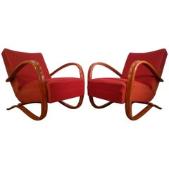 Pair of H269 Armchairs by Jindrich Halabala in Original Upholstery, 1930