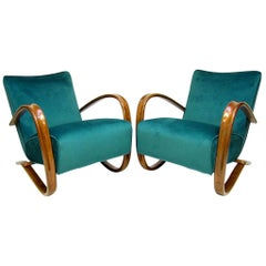 "Pair of ""H269"" Art Deco Lounge Chairs by Jindrich Halabala in Peacock Blue"