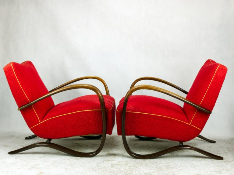 Pair of iconic H-269 lounge chairs by Jindrich Halabala for Up Závody Brno in good, original condition,
