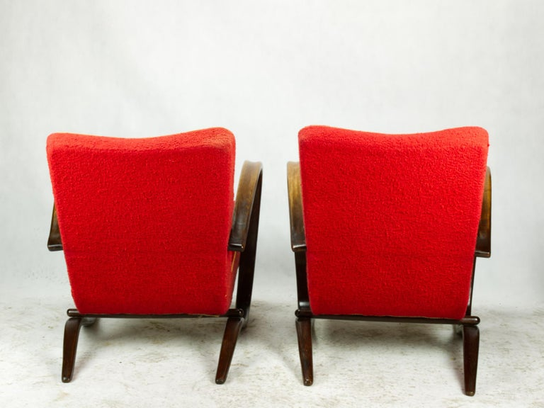 Art Deco Pair of H269 Lounge Chairs by Jindřich Halabala for Up Závody Brno, 1930s