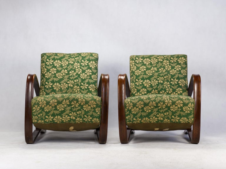 Czech Pair of H269 Lounge Chairs by Jindřich Halabala for Up Závody Brno, 1930s