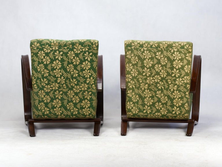Mid-20th Century Pair of H269 Lounge Chairs by Jindřich Halabala for Up Závody Brno, 1930s