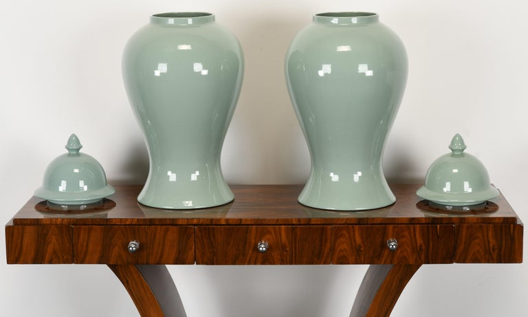 Late 20th Century Pair of Haeger Celadon Ginger Jars, 1980s For Sale
